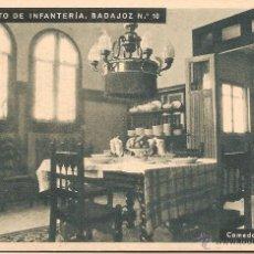 Postales: RGTO. DE INFANTERIA BADAJOZ Nº 10, CUARTEL DEL BRUCH, COMEDOR OFICIALES - HUECOGRABADO MUMBRÚ - S/C. Lote 91701660