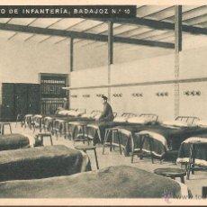 Postales: RGTO. DE INFANTERIA BADAJOZ Nº 10, CUARTEL DEL BRUCH, UN DORMITORIO - HUECOGRABADO MUMBRÚ - S/C. Lote 91701720
