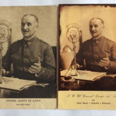 Postales: DOS POSTALES POSTAL. GENERAL QUEIPO DE LLANO. JALÓN ÁNGEL. ZARAGOZA.. Lote 93780790