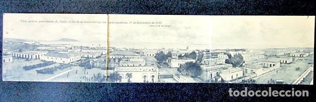 POSTAL TRIPLE. VISTA GENERAL PANORÁMICA DE NADOR EL DÍA DE LA OCUPACIÓN POR TROPAS ESPAÑOLAS. 1921. (Postales - Postales Temáticas - Militares)