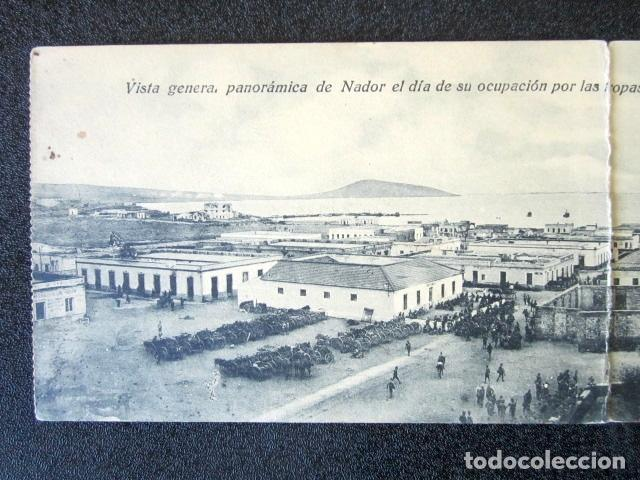 Postales: POSTAL TRIPLE. VISTA GENERAL PANORÁMICA DE NADOR EL DÍA DE LA OCUPACIÓN POR TROPAS ESPAÑOLAS. 1921. - Foto 2 - 94067820
