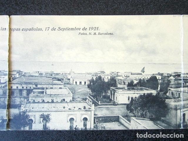 Postales: POSTAL TRIPLE. VISTA GENERAL PANORÁMICA DE NADOR EL DÍA DE LA OCUPACIÓN POR TROPAS ESPAÑOLAS. 1921. - Foto 3 - 94067820