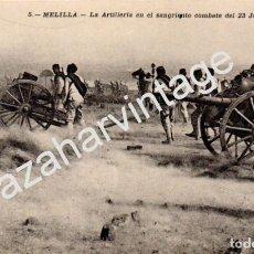 Postales: POSTAL - GUERRA DE AFRICA - 5 MELILLA - LA ARTILLERIA EN EL SANGRIENTO - AÑO 1909 - J. GONZÁLEZ. Lote 95766163
