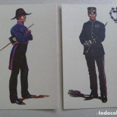Postales: LOTE DE 2 POSTALES CAPELLAN DEL CLERO CASTRENSE, 1853 Y 86 ... DE DELFIN SALAS. Lote 187392566
