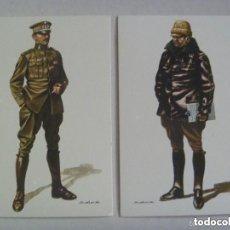 Postales: LOTE 2 POSTALES AERONAUTICA MILITAR , UNIFORME DE VUELO Y OFICIAL, 1914 .. DE DELFIN SALAS.. Lote 97541239