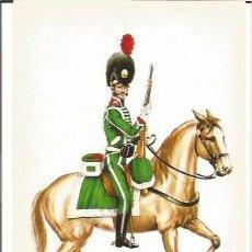 Postales: SOLDADO CAZADORES CABALLERIA REG OLIVENZA 1808 EJERCITO ESPAÑOL POSTAL UNIFORME MILITAR. Lote 103992271