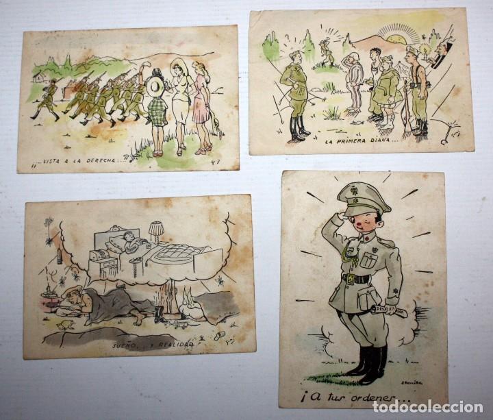 LOTE DE 4 ANTIGUAS POSTALES ILUSTRADAS. MILITAR. CIRCULADAS (Postales - Postales Temáticas - Militares)