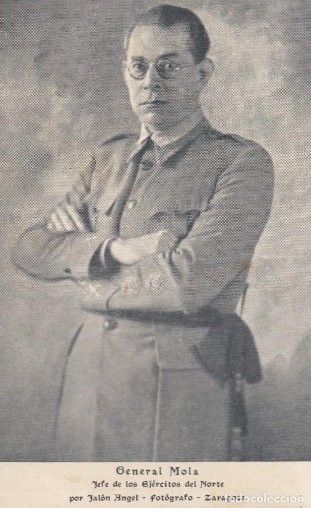 GENERAL MOLA. POSTAL BLANCO Y NEGRO, ESCRITA AL REVERSO. ZARAGOZA, C. 1937 (Postales - Postales Temáticas - Militares)