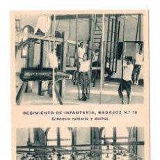 Postales: REGIMIENTO DE INFANTERÍA DE BADAJOZ Nº10. GIMNASIO CUBIERTO Y DUCHAS .HUECOGRABADO MUMBRU. BARCELONA. Lote 108755627