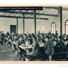 Postales: REGIMIENTO DE INFANTERÍA DE BADAJOZ Nº10. UN COMEDOR DE TROPA. HUECOGRABADO MUMBRU. BARCELONA. Lote 108756187