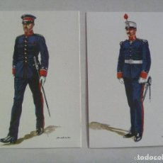 Postales: LOTE DE 2 POSTALES: OFICIALES DE INGENIEROS ( 1903 Y 1920 ) . DE DELFIN SALAS. Lote 110101515