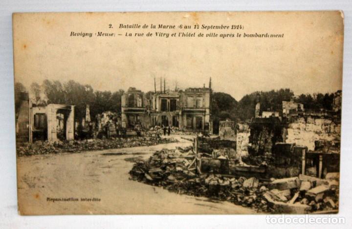 ANTIGUA POSTAL DE LA BATAILLE DE LA MARNE (1914). REVIGNY (FRANCIA). VISTA DESPUES DEL BOMBARDEO (Postales - Postales Temáticas - Militares)
