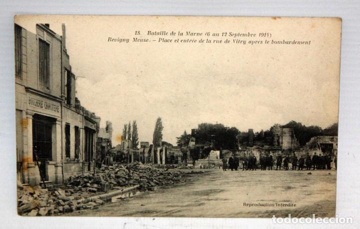 ANTIGUA POSTAL DE REVIGNY (FRANCIA). BATAILLE DE LA MARNE. VISTA DESPUES DE LOS BOMBARDEOS (Postales - Postales Temáticas - Militares)