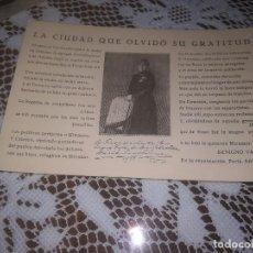 Postales: ANTIGUA POSTAL.BENIGNO VARELA LA CIUDAD QUE OLVIDO SU GRATITUD EN LA EXPATRIACION PARÍS AÑO 1933. Lote 111825775