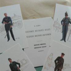 Postales: CUATRO POSTALES UNIFORMES DEL SERVICIO MÉDICO DE UNIFORMES MILITARES BELGAS. Lote 114265050