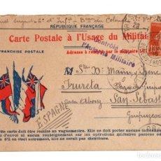 Postales: TARJETA POSTAL REPUBLIQUE FRANÇAISE. CARTE POSTALE À L'USAGE DU MILITAIRE. AÑO 1916. Lote 118246052
