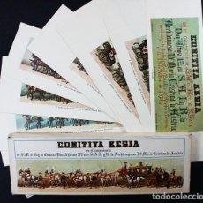 Postales: 64 LAMINAS COMITIVA REGIA EN EL CASAMIENTO ALONSO XII Y CRISTINA DE AUSTRIA CON ERROR DE IMPRESION. Lote 118560919