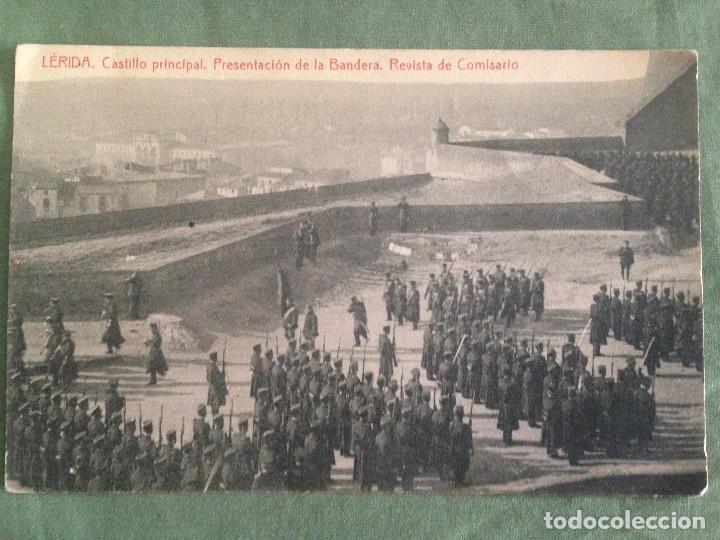 Postales: LERIDA . CASTILLO PRINCIPAL. PRESENTACIÓN DE LA BANDERA. REVISTA DE COMISARIO. ESCRITA 1916 - Foto 2 - 119034435