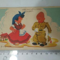 Cartes Postales: ANTIGUA POSTAL SOLDADO AÑOS 40 CIRCULADA CON SELLO MILITAR. Lote 119261758