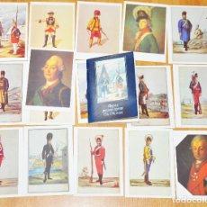 Postales: JUEGO 16 POSTALES..RUSO UNIFORME MILITAR EN 1756-1796A. MOSCOU 1991A.URSS. Lote 120175003