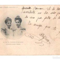 Postales: FAMILIA REAL ESPAÑOLA SS. AA. RR. PRINCESA DE ASTURIAS E INFANTA Mª TERESA. - FOTO FRANZEN. Lote 128746223