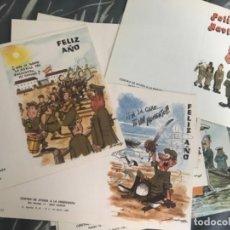 Postales: LOTE ANTIGUAS POSTALES FELICITACIÓN NAVIDAD MILITAR ILUSTRACIÓN SALAS AÑOS 80. Lote 129154795