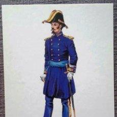 Postales: POSTAL UNIFORMES MILITARES. BRIGADIER DEL CUERPO DE E.M. DIARIO 1843. Lote 135807350