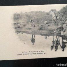 Postales: TOLEDO - POSTAL DE LA ACADEMIA DE INFANTERIA GABINETE FOTOGRAFICO 1911 - 20 - EN EL ARROYO DE LA ROS. Lote 138661534