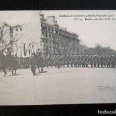 Postales: TOLEDO - POSTAL DE LA ACADEMIA DE INFANTERIA GABINETE FOTOGRAFICO 1912 - 23 - DESFILE ANTE S.S. M.M.. Lote 138873634