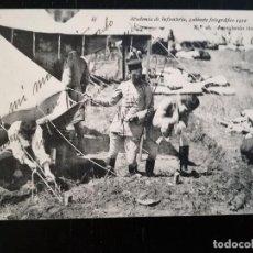 Postales: POSTAL DE LA ACADEMIA DE INFANTERIA - 1912 - Nº 28 - ARREGLANDO TIENDAS - 4ª COMPAÑÍA - JUAN BONO BO. Lote 138888686
