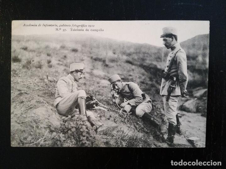 ACADEMIA DE INFANTERIA - 1912 - Nº 37 - TELEFONÍA DE CAMPAÑA - 4ª COMPAÑÍA - DEDICADA POR JOSÉ RAÑAL (Postales - Postales Temáticas - Militares)