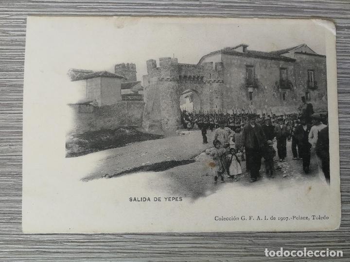 ANTIGUA Y PRECIOSA POSTAL DE TOLEDO - SALIDA DE YEPES - MILITARES - EPOCA ALFONSO XIII - 1907 (Postales - Postales Temáticas - Militares)