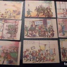 Postales: COLECCION DE 10 POSTALES ( COMPLETA ) DE TEMAS MILITARES ILUSTRADAS POR PEPIN 1947 - 14X9 CM. . Lote 139395018