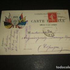 Postales: FRANCIA POSTAL TOURING CLUB CENSURA MILITAR PRIMERA GUERRA MUNDIAL ESCRITA POR SOLDADO. Lote 140068078