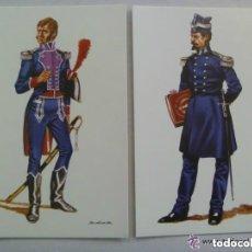 Postales: LOTE DE 2 POSTALES DE CAPITANES DEL REAL CUERPO DE INGENIEROS, DE 1808 Y 1850 . DE DELFIN SALAS. Lote 140413942