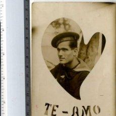 Postales: MARINA MILITARIA POSTAL CON GORRA MARINO AÑO 1931 Y FORMA CORAZON APRENDIZ BUZO 1931. Lote 140745426