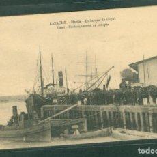 Postales: GUERRA DE MARRUECOS LARACHE MUELLE EMBARQUE DE TROPAS. Lote 143192534