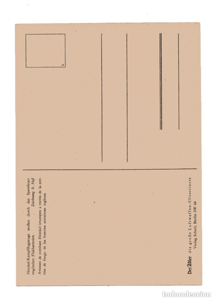 Postales: AVIONES DE COMBATE INTERRUMPEN A TREVÉS DE CORTINA DE FUEGO. HEINKEL-KAMPFFUGZEUGE. - Foto 2 - 146221302