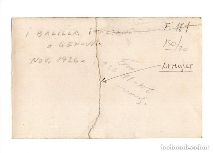 Postales: BALILLA ITALIANO A GENOVA 1926. POSTAL FOTOGRÁFICA. ARREGLADA - Foto 2 - 146226134