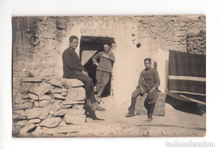GUERRA DEL RIF. POSTAL FOTOGRÁFICA.- CASETA CAPITÁN MEDICO (Postales - Postales Temáticas - Militares)