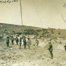 Postales: MELILLA CAMPAÑA DE 1915. SOLDADOS DE INGENIEROS MONTANDO ANTENA TRANSMISIONES. CIRCULADA EN 1915. . Lote 148085466