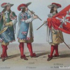 Postales: DÍPTICO - TARJETA POSTAL - POSTAL MILITAR - UNIFORMES FRANCIA -TAMBOR, PITANO, ALFEREZ BANDERA 1668. Lote 149939642