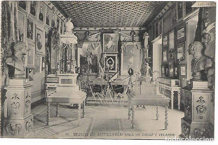 TARJETA POSTAL MUSEO DE ARTILLERIA SALA DE DAOIZ Y VALVERDE FOTOTIPIA DE HAUSER Y MENET MADRID (Postales - Postales Temáticas - Militares)