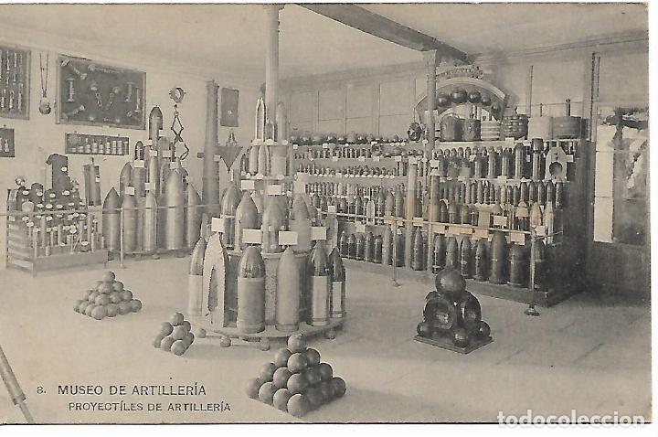 TARJETA POSTAL MUSEO DE ARTILLERIA PROYECTILES DE ARTILLERIA FOTOTIPIA DE HAUSER Y MENET MADRID (Postales - Postales Temáticas - Militares)
