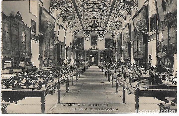 TARJETA POSTAL MUSEO DE ARTILLERIA SALON DE REINOS ( MODELOS ) FOTOTIPIA DE HAUSER Y MENET MADRID (Postales - Postales Temáticas - Militares)