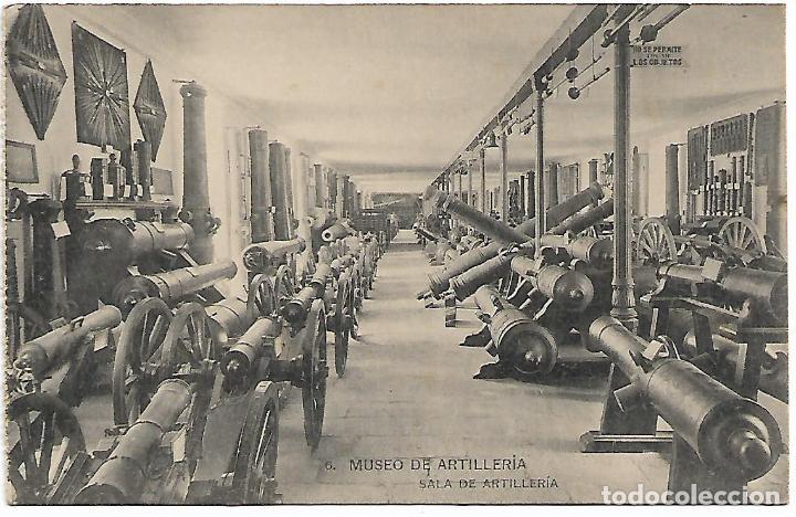 TARJETA POSTAL MUSEO DE ARTILLERIA SALA DE ARTILLERIA FOTOTIPIA DE HAUSER Y MENET MADRID (Postales - Postales Temáticas - Militares)