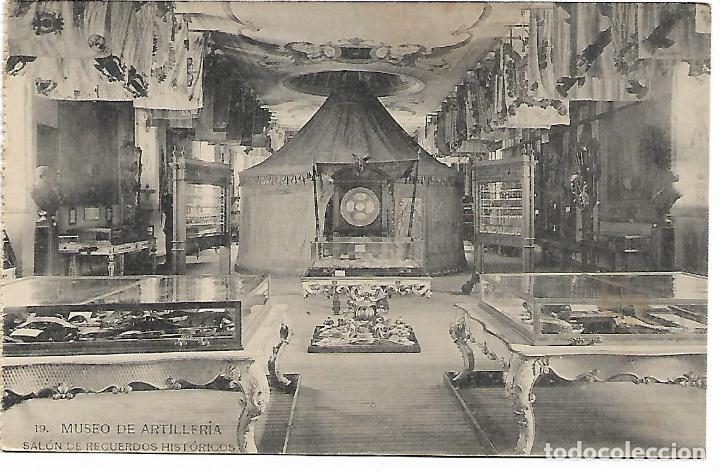 TARJETA POSTAL MUSEO DE ARTILLERIA SALON DE RECUERDOS HISTORICOS FOTOTIPIA DE HAUSER Y MENET (Postales - Postales Temáticas - Militares)