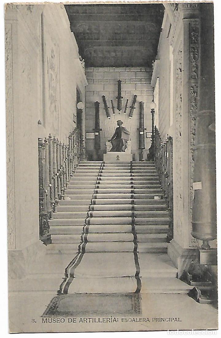 TARJETA POSTAL MUSEO DE ARTILLERIA ESCALERA PRINCIPAL FOTOTIPIA DE HAUSER Y MENET MADRID (Postales - Postales Temáticas - Militares)