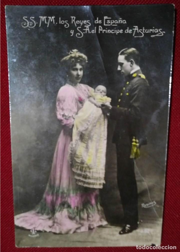 Postales: Postal. Monarquía. Reyes de España y Príncipe de Asturias. Coloreada. Resines. Circulada - Foto 2 - 114422627