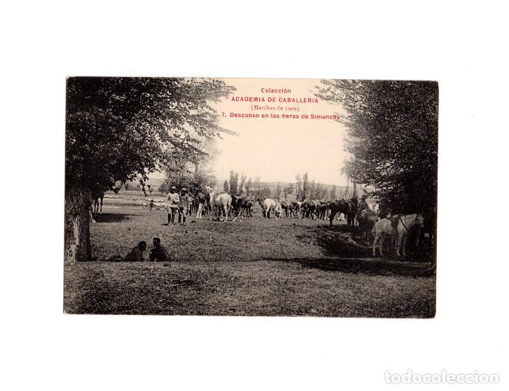DESCANSO EN LAS HERAS DE SIMANCAS. COLECCION ACADEMIA CABALLERIA. MARCHA 1909 (Postales - Postales Temáticas - Militares)